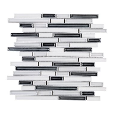 Handmade Strip Random Sized Porcelain Tile in Black/White