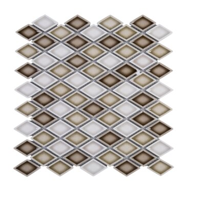 Handmade Diamond 1.5 x 1.5 Porcelain Tile in Brown/White