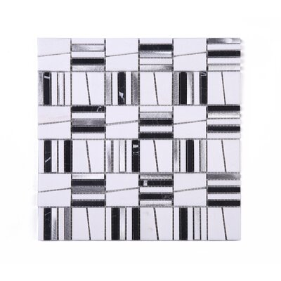 Falling Star Random Sized Mixed Material Tile in White/Gray