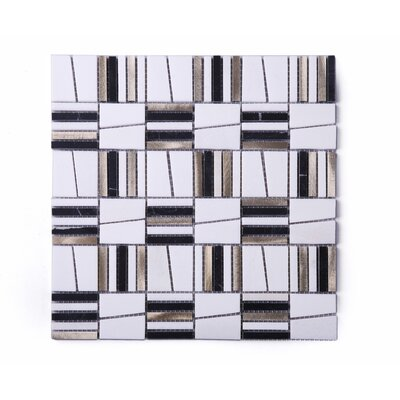 Skyview Random Sized Mixed Material Tile in Brown/Black
