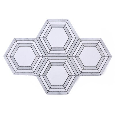 Brickstorm Random Sized Marble Tile in Gray/White