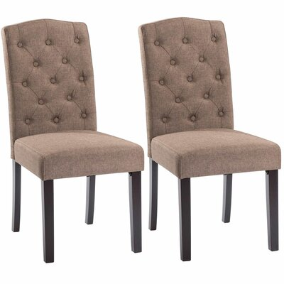 Plourde Upholstered Dining Chair Upholstery: Brown