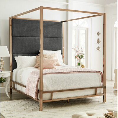 Weymouth Upholstered�Canopy Bed Color: Dark Gray/Champagne Gold, Size: Queen