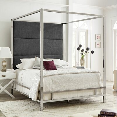 Weymouth Upholstered�Canopy Bed Color: Dark Gray/Chrome, Size: Queen