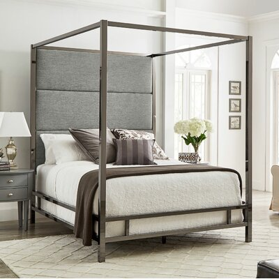 Weymouth Upholstered�Canopy Bed Color: Gray/Black Nickel, Size: Full