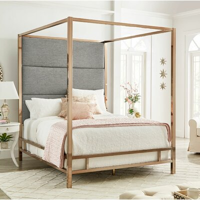 Weymouth Upholstered�Canopy Bed Color: Gray/Champagne Gold, Size: Queen