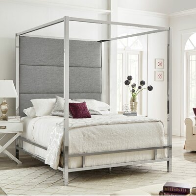 Weymouth Upholstered�Canopy Bed Color: Gray/Chrome, Size: King