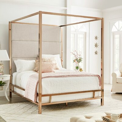 Weymouth Upholstered�Canopy Bed Color: White/Champagne Gold, Size: Queen