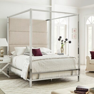 Weymouth Upholstered�Canopy Bed Color: White/Chrome, Size: Full