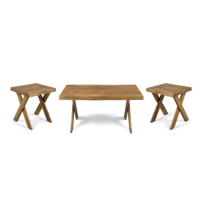 3 Piece Coffee Table Set Color: Sandblast Teak