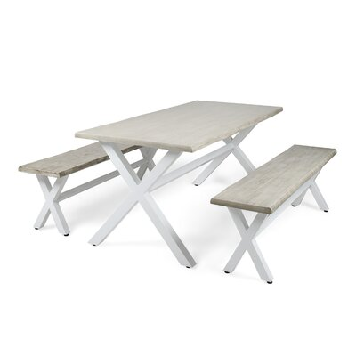 Acacia Wood 3 Piece Dining Set Table Top Color: Light Gray