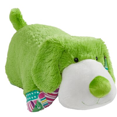 Colorful Puppies Plush Chenille Throw Pillow Color: Lime Green