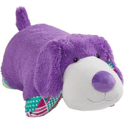 Colorful Puppies Plush Chenille Throw Pillow Color: Purple