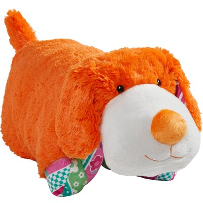 Colorful Puppies Plush Chenille Throw Pillow Color: Orange