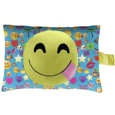 Smiley Face Plush Chenille Lumbar Pillow