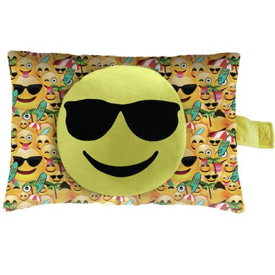 Sunglasses Face Plush Chenille Lumbar Pillow