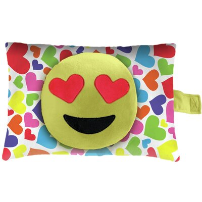 Hearts Face Plush Chenille Lumbar Pillow