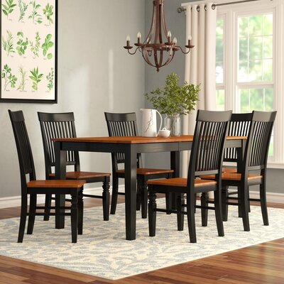 Pillar 7 Piece Extendable Breakfast Nook Dining Set Color: Black/Cherry