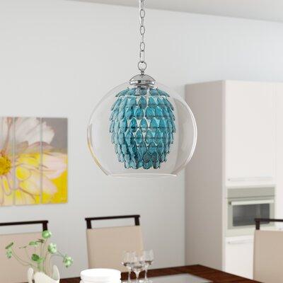 Schueler 1-Light Crystal Pendant Color: Turquoise