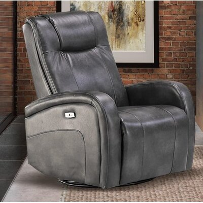 Hiller Power Swivel Recliner Upholstery: Steel Gray