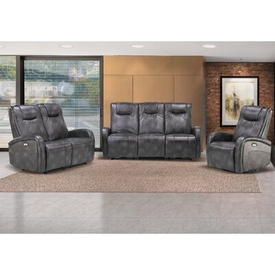 Hiller 3 Piece Reclining Living Room Set Upholstery: Steel Gray