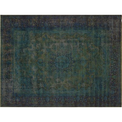 One-of-a-Kind Super Distressed Over Dyed Hand-Knotted Wool Teal/Blue Area Rug