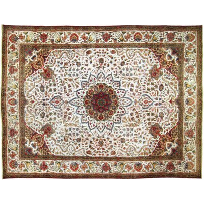 One-of-a-Kind Super Distressed Over Dyed Hand-Knotted Wool Ivory/Red Area Rug