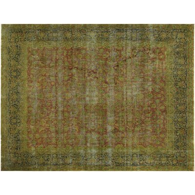 One-of-a-Kind Super Distressed Over Dyed Hand-Knotted Wool Rust/Blue Area Rug