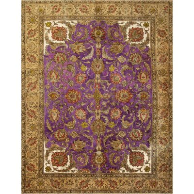 One-of-a-Kind Super Distressed Over Dyed Hand-Knotted Wool Purple/Tan Area Rug