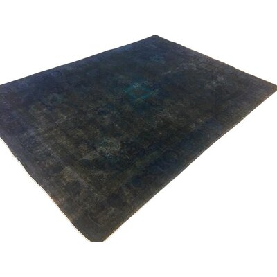 One-of-a-Kind Super Distressed Over Dyed Hand-Knotted Wool Blue/Charcoal Area Rug