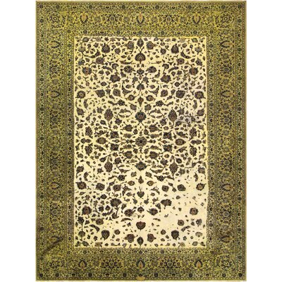 One-of-a-kind Super Distressed Over Dyed Hand-Knotted Wool Green/Tan Area Rug