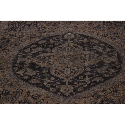 One-of-a-Kind Super Distressed Over Dyed Hand-Knotted Wool Tan/Blue Area Rug
