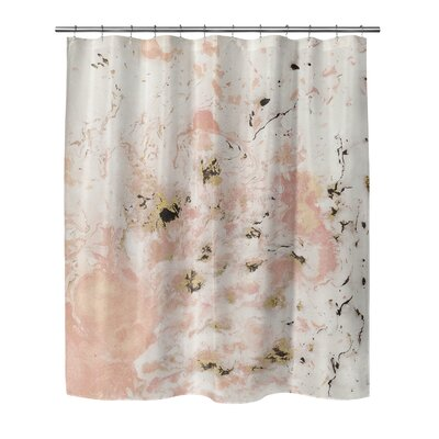 Waneta Marbled Shower Curtain Size: 90 H x 70 W, Color: Pink