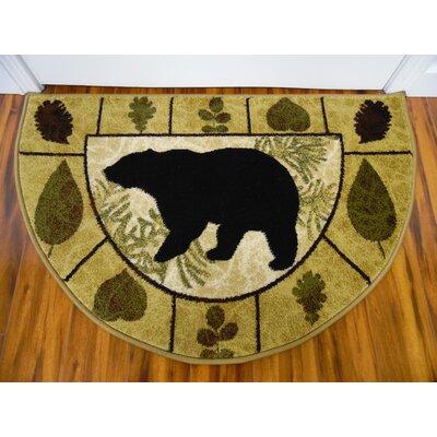 Vassallo Leaves Bear Beige/Dark Beige Indoor/Outdoor Area Rug Rug Size: Half Round 22 x 33