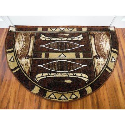 Vasser Native Canoe Black/Dark Beige Indoor/Outdoor Area Rug Rug Size: Half Round 22 x 33