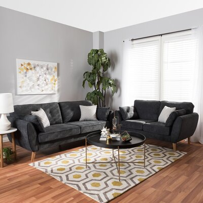Doucette Mid Century Modern Upholstered 2 Piece Living Room Set Upholstery: Dark Gray