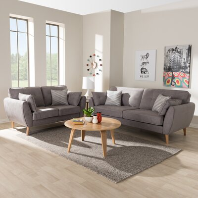 Doucette Mid Century Modern Upholstered 2 Piece Living Room Set Upholstery: Light Gray
