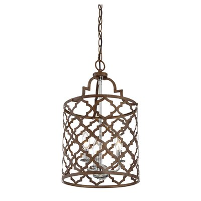 Agueda 3-Light Foyer Pendant Finish: Silver, Shade Color: Brown