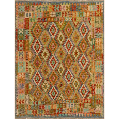 One-of-a-Kind Bakerstown Kilim Hand-Woven Wool Blue/Ivory Area Rug