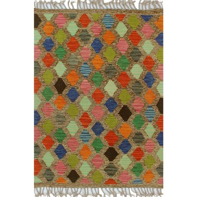 One-of-a-Kind Bakerstown Kilim Hand-Woven Wool Green/Red Area Rug