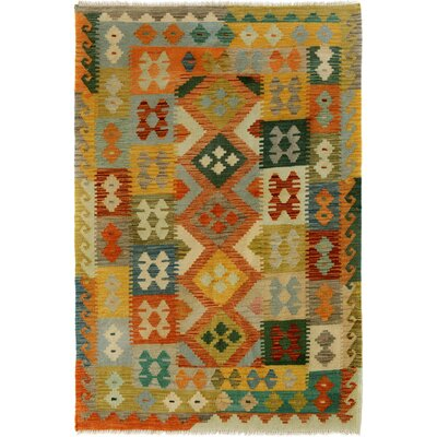 One-of-a-Kind Bakerstown Kilim Hand-Woven Wool Ivory/Orange Area Rug