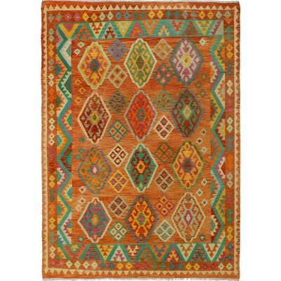 One-of-a-Kind Bakerstown Kilim Hand-Woven Wool Rust/Teal Area Rug