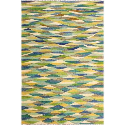 One-of-a-Kind Janini Kilim Hand-Woven Wool Blue/Ivory Area Rug