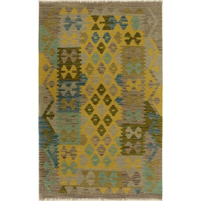 One-of-a-Kind Bakerstown Kilim Hand-Woven Wool Gray/Gold Area Rug