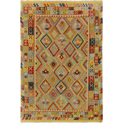 One-of-a-Kind Bakerstown Kilim Hand-Woven Wool Yellow/Orange Area Rug