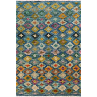 One-of-a-Kind Bakerstown Kilim Hand-Woven Wool Blue/Gray Area Rug