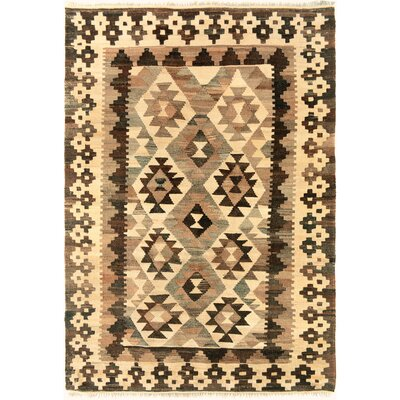 One-of-a-Kind Bakerstown Kilim Hand-Woven Wool Ivory/Chocolate Area Rug