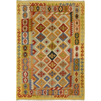 One-of-a-Kind Bakerstown Kilim Hand-Woven Wool Ivory/Gold Area Rug