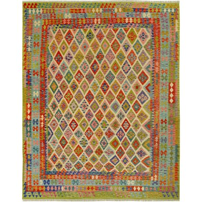 One-of-a-Kind Bakerstown Kilim Hand-Woven Wool Green/Ivory Area Rug