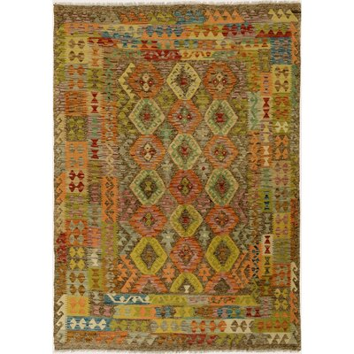 One-of-a-Kind Bakerstown Kilim Hand-Woven Wool Gray/Blue Area Rug